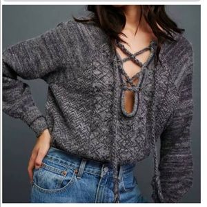 Free People gray and blue slouchy sweater